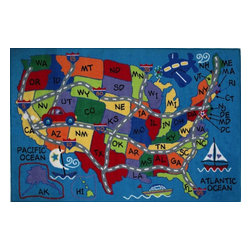 """Fun Rugs - Kids Fun Time 5'3""""x7'6"""" Rectangle Multi Area Rug - The Fun Time area rug Collection offers an affordable assortment of Kids stylings. Fun Time features a blend of natural Multi color. Machine Made of 100% Nylon the Fun Time Collection is an intriguing compliment to any decor."""