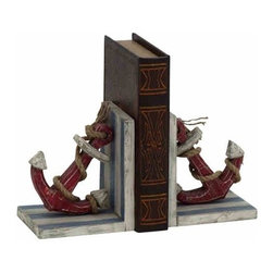 "Wood Rope and Anchor Bookends 78728 - Wood Rope and Anchor Bookends features blue and white striped base with red anchor and natural rope intertwined on each side. 6"" W x 7"" H"