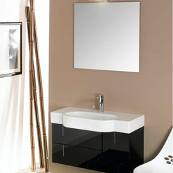 Iotti - 35 Inch Bathroom Vanity Set - Plenty of storage space and an overhanging fitted sink offer you solid performance in an elegant package of style and finish. Available in Glossy White, Glossy Black and Glossy Gray, this is form and function for the modern bathroom. The fitted sink has generous shelf space on either side of the basin. A high tech mirror resists scratches and corrosion. Twin drawers and a door for storage rounds out the set. Imported from Italy. Set Includes: . Vanity Cabinet (2 drawers, 1 door). Fitted ceramic sink (35 inch x 17.7 inch ). Mirror (30.4 inch x 27.7 inch ). Vanity Light (11.8 inch ). Vanity Set Features:. Vanity cabinet made of engineered wood. Cabinet features waterproof panels. Available in Glossy Black (as shown), Glossy White, Glossy Gray. Cabinet features 2 soft-closing drawers, 1 door. Faucet not included. Perfect for modern bathrooms. Made and designed in Italy. Includes manufacturer 5 year warranty.