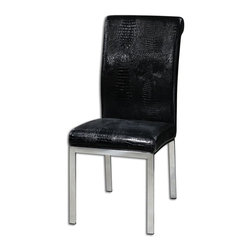 "Carolyn Kinder - Carolyn Kinder Zaidee Black Accent Chair X-04132 - Dining, desk or accent chair in black patent, faux croc with chrome polished steel legs and chair-back pulls for added detail. Seat height is 19""."