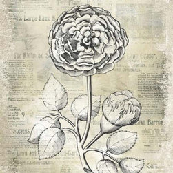 YOSEMITE HOME DECOR - Antiqued Bloom I Printed Art with Frame - Botanical flower print on aged linen accented with aged, newspaper print background and metallic overlays.