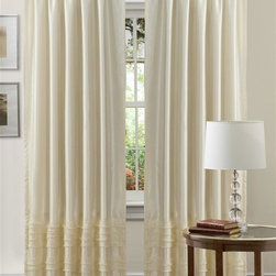 Lush Decor - Lush Decor Paloma Curtain Panel in Ivory - Curtain rod, lamp and round table not included. Rod pocket slides onto curtain rod for installation. Dry clean. Single valance with lining. Faux silk and sheer voile. 100% Polyester. 84 in. L x 54 in. W (2 lbs.)