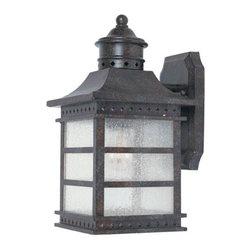 Joshua Marshal - One Light Pale Cream Textured Glass Rustic Bronze Wall Lantern - One Light Pale Cream Textured Glass Rustic Bronze Wall Lantern