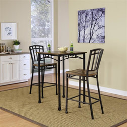 HomeStyles - Modern Craftsman 3 Piece Bistro Set - Includes table and 2 stools. This set encapsulates craftsman style with rectilinear and angular apron design elements, and flared legs that add character. The stools feature contour seats and a 30 inch seat height. Table Size: 30 in. W x 30 in. D x 42 in. H. Stool Size: 18 in. W x 22 in. x 46 in. HReminiscent of the American Craftsman Era with understated style and simplicity, the Modern Craftsman 3PC Bistro Set marries a traditional,  distressed Oak finish on engineered wood solids with oak veneers with new age, deep brown powder coated metal accented with gold highlighting
