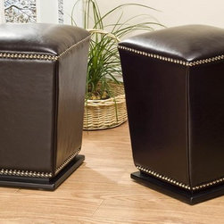 Safavieh Furniture - Mason Ottoman - Set of 2 - Set of 2. Unique tapered design. Transitional footstool. Nailhead trim. Plinth base. Made from sturdy wood and bi-cast leather. No assembly required. 14 in. W x 14 in. D x 20 in. H (21 lbs.)