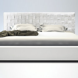 MODLOFT - Madison Bed - The Madison is elegantly designed with a complex woven eco leather headboard and simple matching frame.