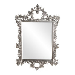Howard Elliott - Sherman Rectangular Bright Silver Leaf Mirror - Our fancy Sherman mirror is finished using a Bright Silver Leaf.  The frame features many ornate details.