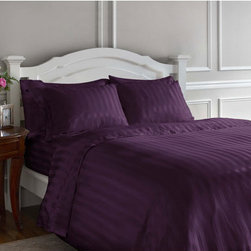 Scent-Sation, Inc. - Whispersilk Luxury Stripe Full/Queen Mini Duvet Set in Aubergine - - Set includes the 90W x 90H duvet cover and two 27W x 21H standard shams.   - Machine wash.   - Please note that size may be different than pictured.   - Duvet cover only, duvet not included.   - Sheets, pillowcases, and pillows sold seperately. Scent-Sation, Inc. - 485QWLSAUB