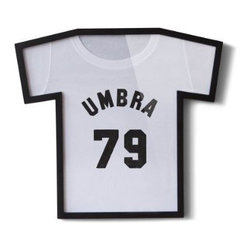 Umbra - Umbra T-frame T-shirt Display, Black - The T-Frame by Umbra is a fun, innovative way to display a prized T-shirt or jersey. Simply wrap the shirt around the inner form, smooth out any wrinkles, insert into the frame, and hang! Great for band and concert tees, autographed sports jerseys, and commemorative shirts of all kinds. Constructed of durable molded material with a plexi lens.