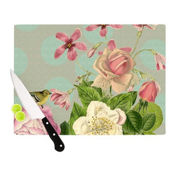 """Kess InHouse - Suzanne Carter """"Vintage Garden Cush"""" Flowers Cutting Board (11.5"""" x 15.75"""") - These sturdy tempered glass cutting boards will make everything you chop look like a Dutch painting. Perfect the art of cooking with your KESS InHouse unique art cutting board. Go for patterns or painted, either way this non-skid, dishwasher safe cutting board is perfect for preparing any artistic dinner or serving. Cut, chop, serve or frame, all of these unique cutting boards are gorgeous."""