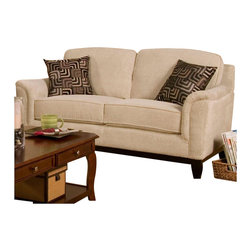 Coaster - Coaster Carver Love Seat with Exposed Wood Base in Beige Chenille - Coaster - Loveseats - 502472 - This love seat with exposed wood base offers equal measure casual and contemporary style. Two box seat cushions and plush back cushions provide plenty of comfort while a soft chenille in beige enhances the love seat with casual style. An exposed wood base with flared feet completes the love seat's look with a slightly more contemporary feel.