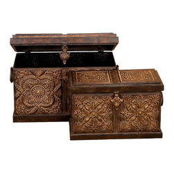 Aspire - Rustic Embossed Metal Trunks - Set of 2 - These metal chests are sure to add a rustic touch to your decor. The chests feature a rustic floral design similar to the fleur de lis look. The antique brown finish further enhances the antique design. Metal. Color/Finish: Antique Brown. 15 in. H x 24 in. W x 13 in. D. 11 in. H x 19 in. W x 8 in. D. Weight: 16 lbs.