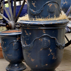 Traditional Outdoor Planters French Anduze Vase (shown in Antiqued Blue)