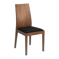 Eurostyle - Eurostyle Deanna Side Chair w/ Black Microfiber Seat [Set of 2] - Side Chair w/ Black Microfiber Seat belongs to Deanna Collection by Eurostyle The Deanna Side Chair combines modern styling with a futuristic design to make this side chair a must have piece for guest seating. Featuring a veneered walnut wood frame with a black microfiber seat, the Deanna also looks great around modern dining room tables. Side Chair (2)