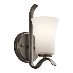 Kichler Lighting - Kichler Lighting Armida Transitional Wall Sconce X-ZO47354 - This transitional wall sconce is a great choice for a space where you need several of the same light. It is simple and contemporary making it perfect for office spaces and hallways. This sconce spares nothing in quality or style as the soft white shade gives just the right amount of glow for any space.