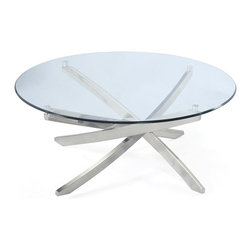Magnussen Furniture - Zila Round Cocktail Table - All pieces are constructed of metal tubing and glass. All pieces feature10mm clear tempered glass with ogee edge with no bevel on top. All pieces feature metal tube legs and adjustable levellers. Contemporary styling. Brushed Nickel finish. Metal tubing and 10mm clear tempered glass with ogee edge and aluminum pucks. Brushed Nickel Finish. 1 Year Limited Warranty. 40 in. W x 40 in. D x 18 in. H (70 lbs.)Inspired by the vintage starburst motifs prevalent in many 1950s tabletop designs, our Zila collection translates that bright, mid-Century sparkle into contemporary decor. Each clear, tempered glass disk is delicately suspended atop an interlaced metal strut base. The feeling is fresh, airy, and unmistakably original.