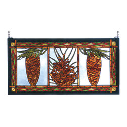 Meyda - 36 Inch W x 18 Inch H Northwoods Pinecone Windows - Color theme: Blue amber 59 red BL