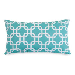 Majestic Home Goods - Teal Links Small Pillow - Add a splash of color and a little texture to any environment with these great indoor/outdoor plush pillows by Majestic Home Goods. The Majestic Home Goods teal links small pillow will add additional comfort to your living room sofa or your outdoor patio. Whether you are using them as decor throw pillows or simply for support, Majestic Home Goods small pillows are the perfect addition to your home. These throw pillows are woven from outdoor treated polyester with up to 1000 hours of U.V. protection, and filled with super loft recycled polyester fiber fill for a comfortable but durable look. Spot clean only.