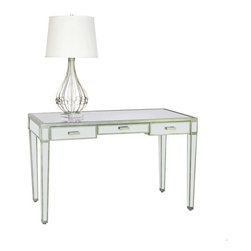 Worlds Away Vivien Mirrored Desk, Silver - Mirrored 3 drawer desk with painted antique silver wood edging. All drawers on glides.