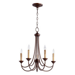 Joshua Marshal - Five Light Oiled Bronze Up Chandelier - Five Light Oiled Bronze Up Chandelier