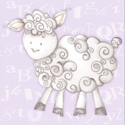 "Doodlefish - Shelby Sheep Lavender - Shelby Sheep is an 18"" x 18"" Gallery Wrapped Giclee Print of a mix of graphical elements and a drawing of a fluffy sheep with a curly tail.  Choose the background color and the background pattern to match your child's room,  Add your child's name or even your favorite pet.  This artwork is also available mounted in a painted frame of your choice.    The finished size of the mounted piece is approximately 22""x22""."