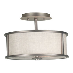 Kenroy - Kenroy 91582BZG Whistler Transitional Semi Flush Mount Ceiling Light - Ultra-modern yet warm, the muted metallic sheen of Bronze Gilt contrasts the comfortable flow of a Linen Textured shade creating a drum that is smart and contemporary.  The versatile design complements a variety of interior styles.