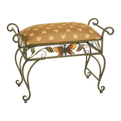 Welcome Home Accents - Antiqued Bronze Butterfly & Leaf motif Bench - Antique Bronze Metal bench featuring colorful butterfly appliques , scrolled arms and a complementary colored butterfly fabric cushion. This gently curved petite bench with the butterfly and leaf motif is functional yet eye-catching in any room. Cushion removes easily to recover. Assembly required. Wipe with a dry cloth.