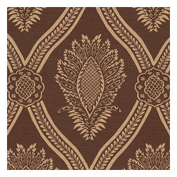 Brown Medallion Trellis Linen Fabric - Large damask-like medallion in aqua & tan linen: the perfect centerpiece for traditional design.Recover your chair. Upholster a wall. Create a framed piece of art. Sew your own home accent. Whatever your decorating project, Loom's gorgeous, designer fabrics by the yard are up to the challenge!
