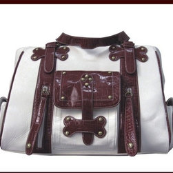 "Backbone Pet - Faux Leather Handbag Pet Carrier in White and Burgundy - Features: -Pet carrier. -Color: White and Burgundy. -Material: Faux leather. -Build in secure leash, removable and washable pad. -Leak proof. -Full lined interior. -Inside slip pocket. -Three sides pouch pockets on front and two sides. -Mesh windows on both sides and top, dual zip closure. -Stud design. -White carrier with red strap. -Holds up to 25 lbs. -60 days warranty. -Dimensions: 11.5"" H x 16"" W x 9"" D."