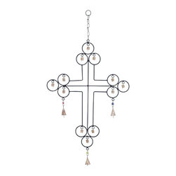 Metal Wind Chime with A Cross Designs - Look at it from the religious point of view, or just with the eye of an artist, this wind chime is a sure attention grabber. This Metal Wind Chime with a Cross Design that features an eclectic cross-themed look. With each end of the cross featuring three circles, each with cute metal bells that tinkle when moved by the breeze, this wind chime will add a serene aspect to your home environment. You can easily hang this work of art up using its metal chain and link that is strong enough for its weight. With astute symmetry in its craftsmanship, this wind chime is sure to spark up some interesting conversations while adding an irresistible rustic charm to your space. Get it for yourself or gift it to someone dear, this wind chime is an aesthetic masterpiece. Made from metal, it is rustproof and can withstand adverse weather.. It comes with a dimension: