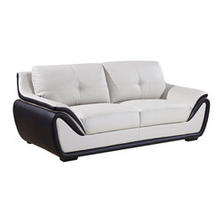 Global Furniture - Global Furniture USA 3250 Bonded Leather Sofa in Grey & Black - Enjoy classic style and top-notch relaxation with this sofa. The elegant design and exquisite cushioning provides perfect comfort that will keep you cozy and the extra padded arms add the perfect finishing touch.