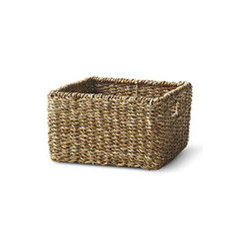WOVEN SQUARE BASKET - SMALL - Do you occasionally lose things? Buy duplicates of items already on hand? Have no idea where to put a hodgepodge assortment of things you don't even remember buying? Fortunately, we have a solution: Our Woven Baskets (which conveniently scale from small to large) are the perfect storage solution. Stylish, textured, and equipped with handles, these baskets fit easily into your life and your home wherever they're needed, from holding children's or pets' toys on the floor to resting on a shelf in a row. Whether you need to store your sweaters or your craft supplies, this basket is the perfect accessory to simplify your life.