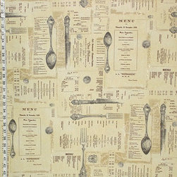 French English Menu Fabric Document Script Brown Toile, Standard Cut - A French English resturant menu document script with silverware fabric, with a vintage look.