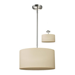Three Light Brushed Nickel Off White Linen Shade Drum Shade Pendant - Add a touch of modern to any part of your house with this contemporary pendant. Finished in brushed nickel hardware, the circular, textured linen shade is in off white, and includes a matching diffuser to soften the light. The fixture also includes telescoping rods to ensure the perfect height and comes complete to install as a pendant or a semi flush.
