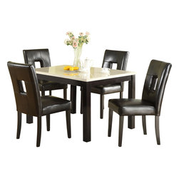 Homelegance - Homelegance Archstone 3 Piece 48 Inch Dining Room Set with Black Chairs - Contemporary design, sleek seating and the combination of black finish with white accents are all the ingredients you need to create a stylish setting for exceptional dining. The white faux marble top pairs perfectly with a cut out center chair back, the color contrast and stylish design create a rich visual enhancement. Chairs are available in white bi-cast vinyl and black bi-cast vinyl.