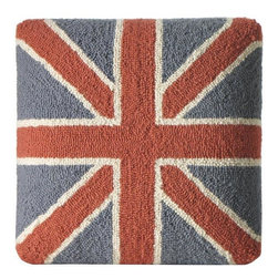 Home Decorators Collection - Union Jack Hooked Pillow or Footstool - Wool craftsmanship will provide warmth while the bold white, blue and red design will add a pop of visual interest to your room.This British-inspired design is available for either a pillow or footstool; sold separately. 100% wool surface. Pillow includes a cotton velvet back and poly-fill insert. Footstool includes wood legs.