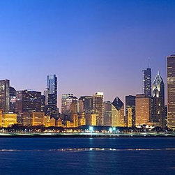 Magic Murals - Chicago Sunset Panorama Wall Mural -- Self-Adhesive Wallpaper by MagicMurals - Panoramic view of the Chicago skyline taken from across Lake Michigan just as the sun sets and the lights begin to reflect off the waters.  The Sears Tower, now known as the Willis Tower, is very visible to the left.