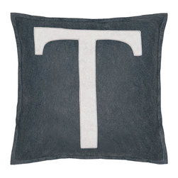"Eastern Accents - Spell It Out T Pillow - Featuring a white ""T"" on a grey background, the Spell It Out felt pillow brings a typographic touch to a sofa, chair or bed. This on-trend accent creates a personalized look when displayed individually or with other letters and symbols (available separately). Handcrafted for the modern home, this decorative pillow charms with its unique fabrication, simple design and neutral color palette. 16"" Square; Hand-cut felt piecing; High quality polyester fiber pillow insert included; Zipper closure"