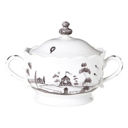 "Juliska - Juliska Country Estate Lidded Sugar-Jam Bowl Flint Main House - Juliska Country Estate Lidded Sugar/Jam Bowl Flint Main House. Be it tea for two or as a fixture on your countertop, this charming bowl features Tea Tent and lofty Kite Fliers. A scalloped rim is crowned with a lid and clad in two handles that make passing your homemade vanilla-sugar as effortless as this vessel is enchanting. Dimensions: 6.5"" W x 4.5"" H Capacity: 8 oz"