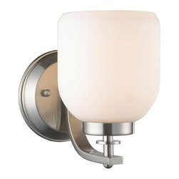 World Imports - Kelly 1-Light Wall Sconce with Glass Shade, Brushed Nickel - All metal construction with a brushed nickel finish