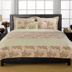 None - Parisian Paisley 3-piece Quilt Set - Making over your bedroom is a snap with this three-piece cotton quilt set that has soft cotton and polyester fill. This machine-washable set features a pretty paisley print in garden-inspired colors. It comes with a quilt and shams for a complete look.