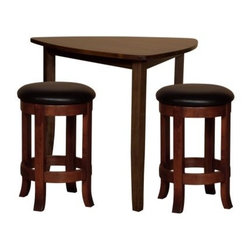 Trilogy Triangle 3 pc. Pub Table Set - Just what you need for your contemporary condo or apartment, the Trilogy Triangle Pub Table Set stands out with its clean lines and updated elegance. Just what you need to relax and unwind with friends, this set, which comes in a choice of counter- or bar-height pub table and 2 counter- or bar-height stools, will offer years of enjoyment, thanks to the excellent Amish woodworking.Crafted from responsibly harvested maple hardwood, this sturdy pub set sports a beautiful multi-step cherry finish that works well with most settings. You'll be seated in comfort, thanks to the black leather seat and the convenient all-round footrest, which makes getting in and out a breeze. A blend of contemporary charm and long-lasting practical function, this stylish, triangular pub set is just what you need to create fun memories with friends and family. Please note: This item is not intended for commercial use. Warranty applies to residential use only.Additional Features:Counter height pub table dimensions: 44W x 44D x 36H inchesBar height pub table dimensions: 44W x 44D x 42H inchesCounter height stool dimensions (each): 17W x 17D x 24H inchesBar height stool dimensions (each): 17W x 17D x 36H inchesContemporary design with Mission table edge and tapered legsMade in AmericaCare and Maintenance:Because most hardwoods are open grained, solid wood furniture can be affected by changes in humidity and temperature, even after protective finishes have been applied. Care in controlling the furniture's environment will help minimize the minor cracking and warping that is a natural part of the wood's character.Indoor humidity should be kept in the 35 to 40 percent range to minimize these effects. If the humidity moves out of the ideal range, solid wood tabletops can expand or contract causing a gap in the center or at the ends where the two halves meet. This is perfectly normal as moisture is absorbed through end grains of wood causing more movement on the