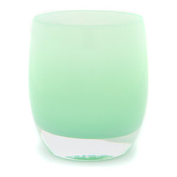 'Merci' Soft Pastel Sage Green Candleholder - Mint is one of my most favorite colors; it's so fresh and serene. Even if you're not a tea light person, you may want to reconsider this handblown glass vessel to add a touch of calm in this softest of greens. Imagine a few of them glowing around the tub as you settle in for a hot soak.