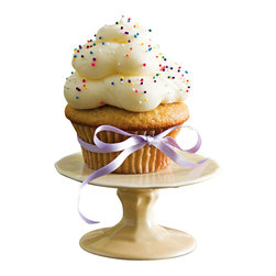 """Rosanna - PetiteTreats Scalloped Yellow Cupcake Stand - Add some fun flavor by displaying your petite treats on our porcelain mini cupcake stands!    Mix & Match...add some color By combining the pink, green, yellow, and white mini cake stands!      * Dimensions: 4""""w x 2""""h.   * Care: Hand wash recommended   * Gift Boxed"""