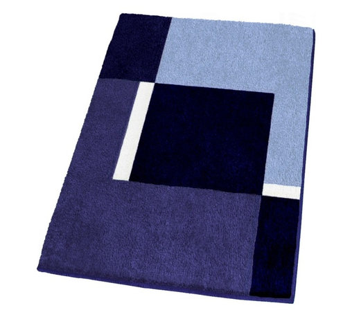 Contemporary Machine Washable Blue Bathroom Rugs, Extra Large - Contemporary non-slip bathroom rug with a thick and densely woven .79in high pile.  Our extra large blue bathroom rug is machine washable and offers a striking geometric pattern with dark blue, medium tone blue, light blue and white range of colors.  Designed and produced in Germany