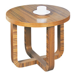 """Beverly Hills Furniture - Olive End Table (Teak) - Finish: TeakSelected oak veneer. Bent wood """"X"""" base. Factory preassembled. 24 in. W x 24 in. L x 19 in. HCrafted with selected teak or oak veneer, the Olive coffee tables represent the convergence of style and quality.  The factory assembled unit features a continuous X base.  Add character to you living space with the Olive coffee table."""