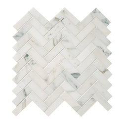 "Quintessa - Polished Calacatta Herringbone Mosaic - Calacatta Marble 1""x3"" pieces mounted on 12x12"" sturdy mesh tile sheet with white grout 6 rows and 9 columns with 54 stones on each sheet. Quantity includes one 12x12"" tile. Shipping is per order."
