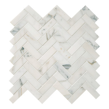 """Quintessa - Polished Calacatta Herringbone Mosaic - Calacatta Marble 1""""x3"""" pieces mounted on 12x12"""" sturdy mesh tile sheet with white grout 6 rows and 9 columns with 54 stones on each sheet. Quantity includes one 12x12"""" tile. Shipping is per order."""