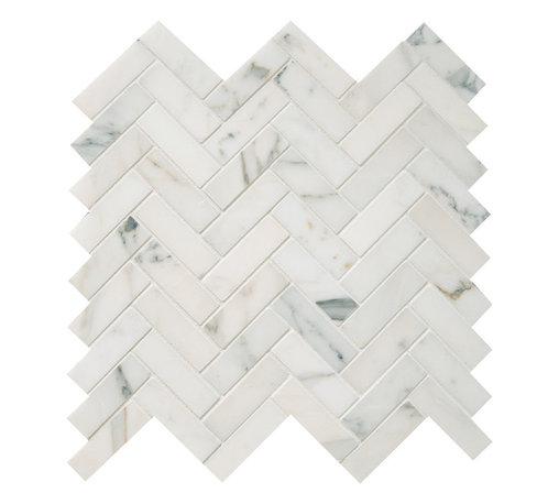 """Quintessa - Polished Calacatta Herringbone Mosaic Tile - Calacatta Marble 1""""x3"""" pieces mounted on 12x12"""" sturdy mesh tile sheet with white grout 6 rows and 9 columns with 54 stones on each sheet. Quantity includes one 12x12"""" tile. Shipping is per order."""