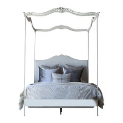 Eloquence - Aria Queen Canopy Bed in Stone - Eloquence Aria (or as my Lola would say Queen Arial!) Queen Canopy Bed with gracefully delicate posts topped with beautifully carved wood. Hand-finished in Stone and upholstered in Fog Linen. 5 yards to re-upholster if you want a different fabric.